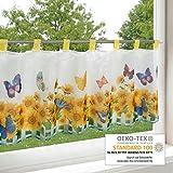 Scheibengardine SONNENBLUMENWIESE für Küche / weiße Wohnzimmer Bistrogardine / 45x120 cm / Moderne und transparente Gardine für den Sommer