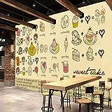 Fototapete HD handgemalte Tapete europäischen Stil Kuchen Dessert Wandgemälde Coffee Shop Tooling Hintergrund Wand Bäckerei Tapete(1-50 Quadratmeter)