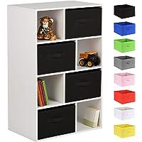 Hartleys White 8 Cube Kids Storage Unit & 4 Handled Box Drawers