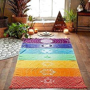 Uteruik Rainbow Chakra Tapiz Toalla