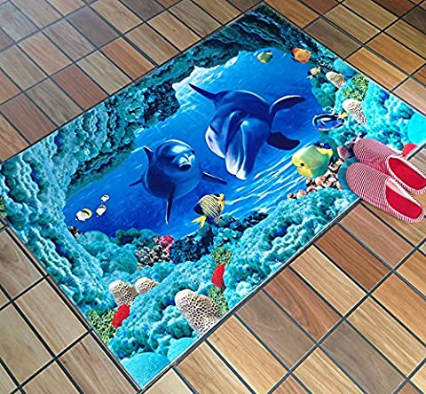 Stillshine 3D Effet Élégant tapis de sol/ intéressant Non Slip Home Canapé Table basse Tapis carpette Chambre à coucher Salle de bain Salon Cuisine Porte de sol Pet Anti Slip Tapis Tapis Mats / chambre d'enfant tapis (80_x_120_cm, dauphin