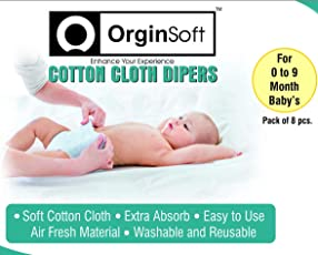 Nappies, Nappies For New Born Baby, Baby Diaper, Baby Wipes, Baby Wipes Offer Combo Low Price, Reusable Baby Diaper, Nappies For 0 To 6 Months, Baby Products All New Born, Cloth Diapers For Babies, Cotton Cloth Diaper For New Born Babies, Langot For Baby 0 To 6 Months, Baby Gift Pack, Free OrginSoft Baby Mattress Sheet Combo, Pack Of 8 Nappies.