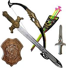 Tanvi Bahubali Warrior Set - Knights Fancy Dress Kids Cosplay - King's Sword, Sheild, Hand Armor , Bow & 3 Arrows