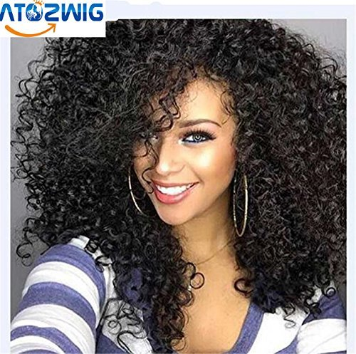 atozwig lockiges Afro Perücke 55,9cm lang Kinky Curly Perücken für Damen schwarz schwarz Haar Perücke African American Synthetik Günstige Perücken für Frauen (Afro Perücken)