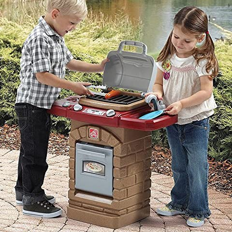 Outdoor Grill for Toy Food Kitchen Cooking w/ ten piece hot dog set, plastic by MegaDeal