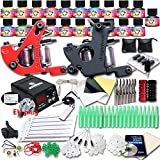 Professional Great Tattoo Kit 1 Machine Gun TOP CE Power Supply Needles Grip Tip 10 Ink EUYMX10-1 immagine