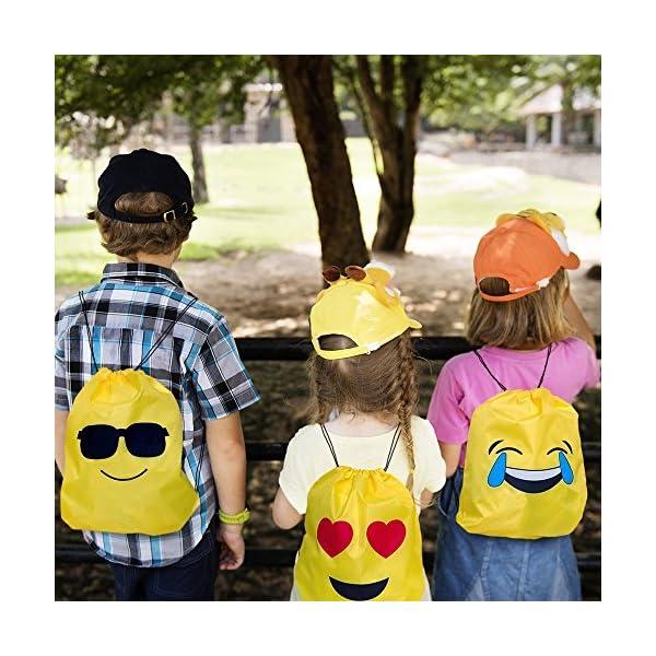61vmAEaYRRL. SS600  - JZK 12pcs Encantador Emoji cordón Dibujos Animados Mochila Bolsas PE para cumpleaños niños y Adultos la Fiesta favorece la Bolsa, Rellenos Bolsas Fiesta