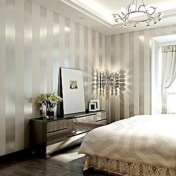 LXPAGTZ Einfache Moderne Vlies Tapete Schlafzimmer Wohnzimmer Schwarzen Und  Weißen Vertikalen Streifen Blau Östliches Mittelmeer Wand Tapete Lange 9.5  M ...