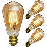 Ampoule LED Edison Vintage, Massway Ampoule Rétro E27 (4W / 220V) ST64 Blanc chaud ambré Lampe antique style vintage pour la
