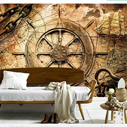 Sucsaistat Wallpaper 3D Fototapete Vintage Europäische Ära des Segelns Segelboot Compass Tv Hintergrund 3D Wallpaper Papel De Parede, 200 * 140Cm