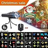 CAMTOA Taschenlampe Projektor, LED Projektionslampe Weihnachtsfeiertags Dekorationen mit 12 Wechselbaren Musters, Taschenlampe Weihnachten mehrfarbige LED Effektlicht Projektor Licht