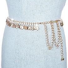 SAIBANGZI - Cadena de Metal para Mujer con Colgante de Perla y cinturón Elegante con Falda