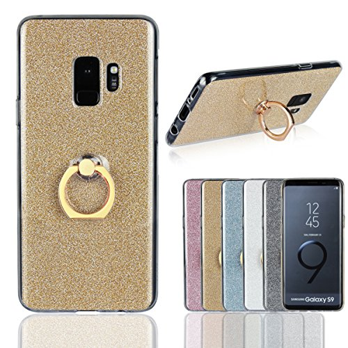 Coque Samsung Galaxy S9,Artfeel Fashion Bling Briller Clair Transparent Ultra Mince Couverture,Doux TPU Silicone Gel avec Anneau Titulaire Stand Anti-Rayures Antichoc Housse de protection arrière pour Samsung Galaxy S9,Or