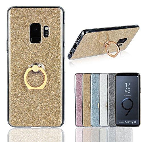 Artfeel Coque pour Samsung Galaxy S9, Bling Briller Clair Transparent Ultra Mince Couverture,Doux TPU Silicone avec Anneau Titulaire Stand Antichoc Arrière Housse,Or