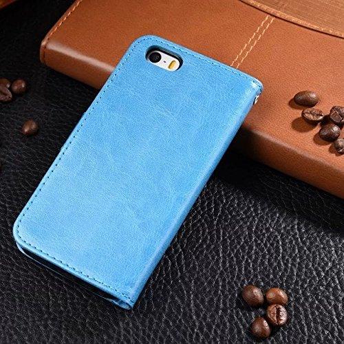iPhone Case Cover Normallackmuster-Mappenartkasten magnetisches entwerfen Flipfolio PU-Lederabdeckung standup Abdeckungsfall für iPhone 5 SE 5S ( Color : Red , Size : Iphone 5S SE ) Blue