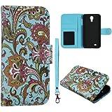 Blau Paisley Leder Fall mit Kreditkarte Tasche Samsung Galaxy S 4, IV i9500Case Cover Snap On Cover Fällen Displayschutzfolie Blenden