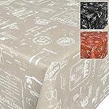 Tovaglia in tela cerata lavabile, stile caffé retro, asciugamani, Beige, 100 x 140 cm