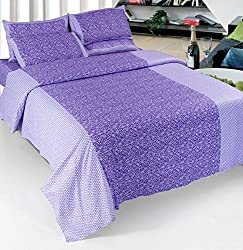 Optimistic Home Furnishing 140 TC Cotton 3 Piece Double Bedding Set - Purple