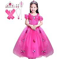 Fancydresswale Princess Butterfly Dress for Girls with Jewellery Set (5-7 Years)