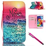Galaxy S5 Case, Galaxy S5 Wallet Case, Firefish [Kickstand] Design [Card/Cash Slots] Premium PU Leather Wallet Flip Cover with Wrist Strap for Samsung Galaxy S5 i9600-Sea by Firefish
