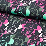Stoff Baumwolljersey Disney Minnie Mouse dunkelblau pink