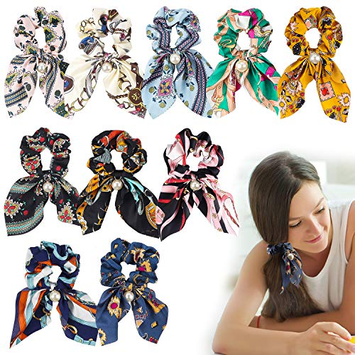 BEYUMI 10 Stücke Haargummis Pferdeschwanz Inhaber-Chiffon Elastische Haarbänder mit Bowknot Perlen Haarschmuck für Frauen
