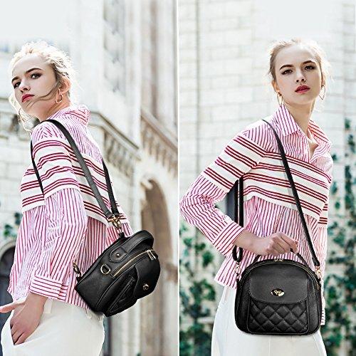 Elegante Plaid Mini in pelle Borse a tracolla della borsa dello zaino delle donne S-ZONE black