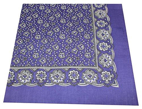 Tobeni 548 Damen Herren Nickituch Kopftuch Bandana Halstuch Baumwolle Unisex Farbe Paisley Lila Grösse 54 cm x 54 cm