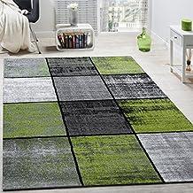 Alfombra De Diseño Moderna De Velour Corto A Cuadros Especial Mezclada Gris, Negra Y Verde, tamaño:140x200 cm