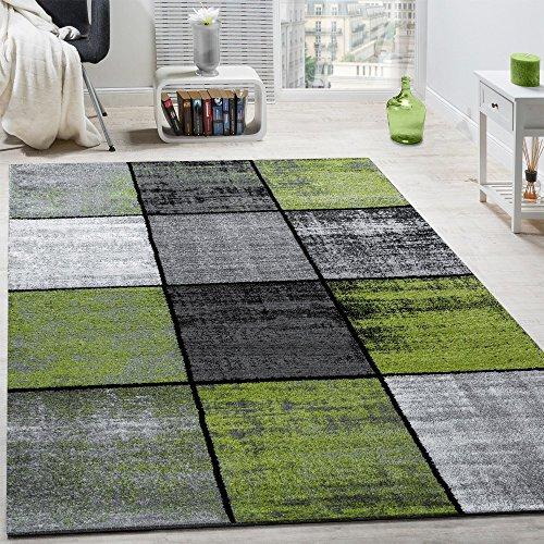 Tappeto di Design Moderno Pelo Corto Quadri Speciale mélange Grigio Nero Verde, Dimensione:160x230 cm