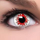"""Lenti a contatto colorate """"Blood Zombie"""" in bianco e rosso, morbide, non corrette, in confezione da due, con portalenti e 10ml di soluzione combinata: prodotto a marchio di qualità superiore, comode da indossare e perfette per Halloween o Carnevale"""
