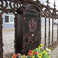 Tradizionale Aristocratic, sole identità Villa Mailboxes in alluminio pressofuso, dimensioni: 32 colori disponibili (01 Rosso bronzo anticato)