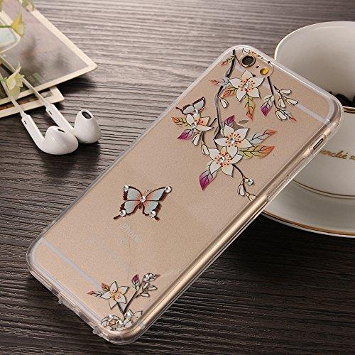 NEXCURIO iPhone 6S 6Custodia 4.7[Free protezione per lo schermo in vetro temperato], acrilico [rigida posteriore in plastica strass 3d] + Morbido TPU Bumper Frame per iPhone 6s 64.7pollici, PLASTI Flower #4