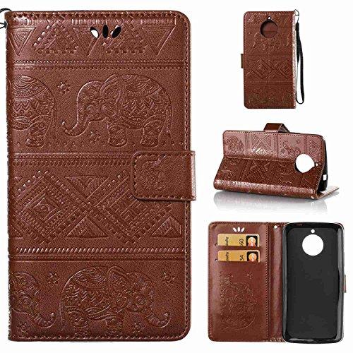 Guran® PU Ledertasche Case für Motorola Moto E4 Plus Smartphone Flip Cover Wallet und Stent-Funktions Hülle Elefant geprägtes Muster Etui - Braun