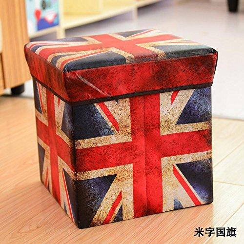 Preisvergleich Produktbild Der Hocker Der Hocker ist ein quadratisches Falten Leinwand und eine Aufbewahrungsbox für die Speicherung von Hocker, ein Stuhl, ein Sitz verändert werden kann, und einem Schuh Schemel wird geändert, Reis Flagge