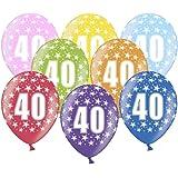Libetui 10 kunterbunte Luftballons Nummer 40 Metallic 30cm Deko zum 40. Geburtstag 40. Jubiläum 40. Hochzeitstag Birthday Jub