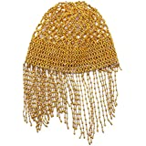 Frcolor Womens Exotic Cleopatra Belly Dance Beaded Cap Sparkling Stretch Headpiece Dance Costume Accessory (Golden)
