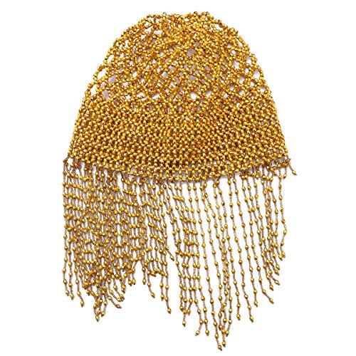 Frcolor Haarschmuck Ägypten Perlenmütze Kopfstück Bauchtanz Kappe Tanz Kostüm Zubehör (Golden)