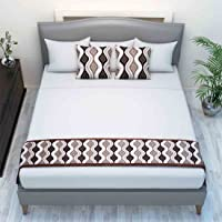 The Intellect Bazaar Chenille Printed Bed Runner with 2 Cushion Covers,Brown