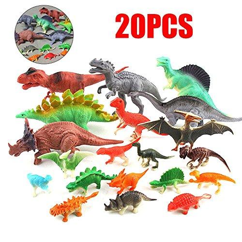 FOONEE 20Stück Dinosaurier Spielzeug Set, Kunststoff Tiny Dinosaurier Figuren Sortiert Fake Triceratops Spielzeug Modell für Party/Geburtstag/Weihnachten/Halloween/Ostern Eier