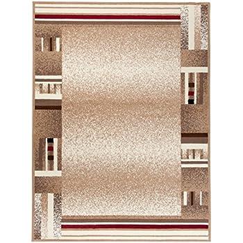 Carpeto Rugs Tapis Salon Beige Clair 160 x 220 cm Moderne Bordures ...