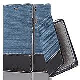 Cadorabo Hülle für Huawei P9 Plus - Hülle in DUNKEL BLAU SCHWARZ – Handyhülle mit Standfunktion und Kartenfach im Stoff Design - Case Cover Schutzhülle Etui Tasche Book