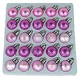 Packung mit 25 Glänzend, Matt & Glitter Mini Weihnachtsbaum-Flitter (Baby Pink)