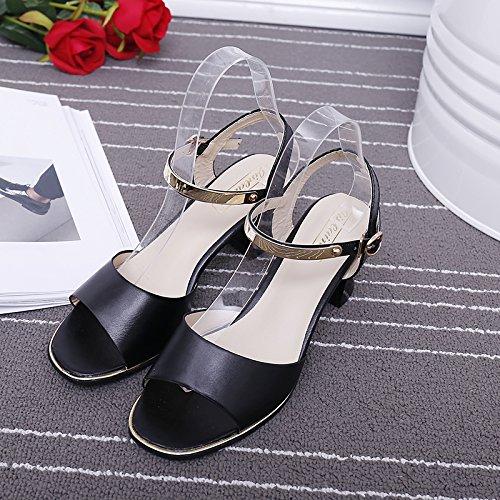 XY&GK Donna Sandali sandali estivi con grossa fibbia femmina punta estiva minimalista di parola Moda Donna Scarpe Cool invano Black