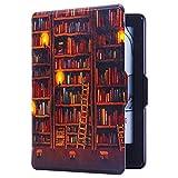 Huasiru Pintura Caso Funda para Amazon Kindle Voyage (6 Pulgadas) Cover con Auto Despertar/Dormir, Biblioteca