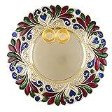 Diwali/Rakshabandhan Collection (1 Stück) Kleine Größe Designer Pooja Thali Traditionelle Metallic-Finish Pooja Thali mit Diya für Diwali/Diwali Pooja/Diwali Dekor mit 2 Katoris