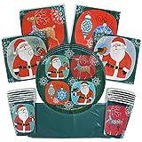 The Twiddlers Vajilla Festiva para Fiesta de Navidad – Disenos Navidenos - Decoracion Desechable – Cena Vasos, Mantel, Platos y Servilletas