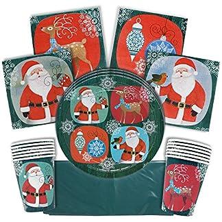 The Twiddlers Vajilla Festiva para Fiesta de Navidad – Disenos Navidenos – Decoracion Desechable – Cena Vasos, Mantel, Platos y Servilletas