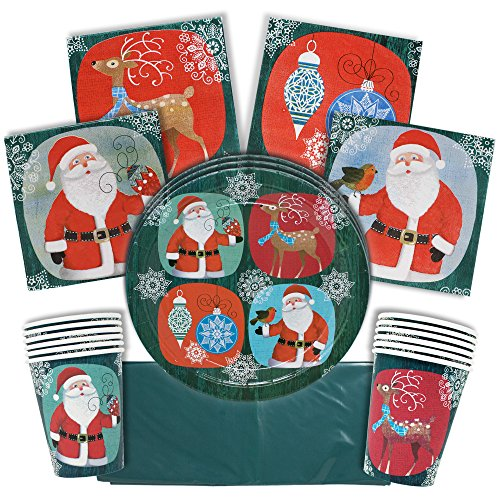 Christmas Festive Disposable Tableware Set – Serves 15 Guests – Great for Parties – Complete Set of Seasonal Themed Cups , Plates and Napkins and Tablecloth!