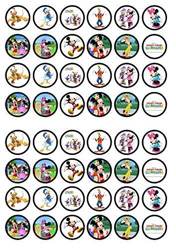 48 Mickey Mouse Clubhouse, Essbare PREMIUM Dicke GEZUCKERTE Vanille, Reispapier Mini Cupcake Toppers, Cake Pops, Cookies für Wafer